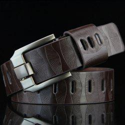 Stylish Pin Buckle Stripy PU Wide Belt For Men - COFFEE