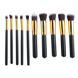 10pcs Makeup Cosmetics Liquid Foundation Blending Brush Set - BLACK GOLD