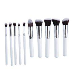 10pcs Makeup Cosmetics Liquid Foundation Blending Brush Set - GREY