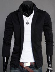 Stand Collar Splicing Design Long Sleeve Slimming Cotton Blends Men's Blazer