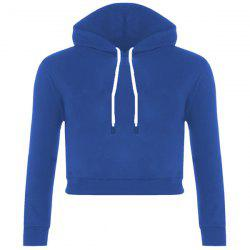 Active Drawstring Hooded Long Sleeve Cropped Hoodie For Women