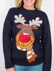 Sweet Round Collar Cartoon Printed Pullover Christmas Sweatshirt For Women