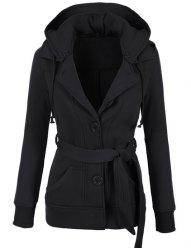 Stylish Hooded Long Sleeve Solid Color Belted Single-Breasted Women's Hoodie -