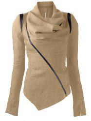 Stylish Cowl Neck Long Sleeve Zippered Women's Leather Trim Jacket - LIGHT KHAKI