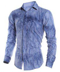 Tie-Dye 3D Abstract Pattern French Front Shirt Collar Long Sleeves Slimming Men's Casual Shirt