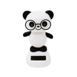Solar Energy Shaking Panda House Decoration Christmas Gift - WHITE AND BLACK