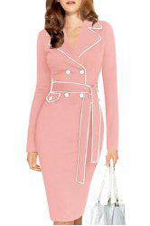 Stylish Lapel Long Sleeve Color Block Belted Women's Dress