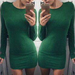 Casual Round Neck Long Sleeve Solid Color Slimming Women's Dress
