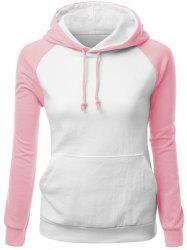 Trendy Hit Color Drawstring Hooded Raglan Pullover Hoodie For Women