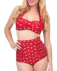 Casual Halter Polka Dot Print Bikini Set For Women