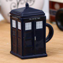 Novel Police Box Style Ceramic Mug with Removable Cup Lid -