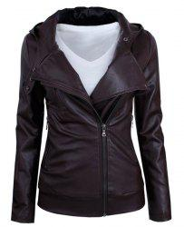 Long Sleeve PU Leather Jacket -