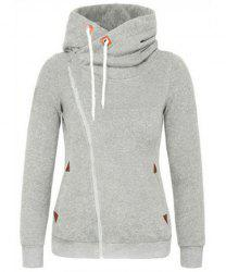 Stylish Hooded Skew Zippered Thick Long Sleeve Hoodie For Women