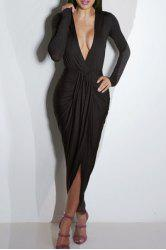 Deep Plunging Neck Ruffled Long Sleeve Dress - BLACK