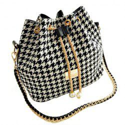 Stylish Houndstooth and Chains Design Women's Shoulder Bag -