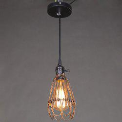 E27 Industrial Retro Iron Cage Pendant Light Holder - RUST