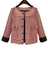 Stylish Round Collar Long Sleeves Solid Color Women's Suede Jacket
