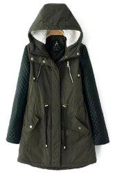 Stylish Hooded Long Sleeve Quilting Faux Leather Spliced Women's Coat