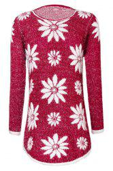 Trendy Round Collar Long Sleeve Flower Pattern Women's Sweater
