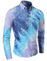 One Patch Pocket 3D Tie-Dye Slimming Shirt Collar Long Sleeves Men's Ombre Button-Down Shirt - BLUE
