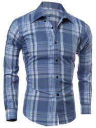 Classic Color Block Plaid Print Multi-Button Slimming Shirt Collar Long Sleeves Men's Shirt - LIGHT BLUE