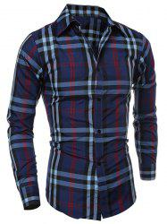 Classic Color Block Plaid Print Multi-Button Slimming Shirt Collar Long Sleeves Men's Shirt - CADETBLUE