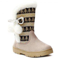 Stylish Knitting and Pompon Design Women's Snow Boots - OFF-WHITE