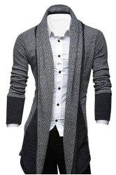 Col rabattu Color Block Splicing manches longues Allonger Men 's Cardigan  - Gris Bleuté
