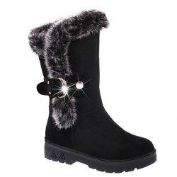 Trendy Solid Color and Faux Fur Design Women's Mid-Calf Boots