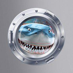Cute Shark Pattern Submarine Shape Removeable 3D Fridge Wall Sticker Home Decoration - COLORMIX