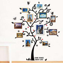 Tree Pattern Removeable Decals Photo Frame Wall Sticker - BLACK