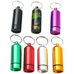 Portable Aluminum Alloy Pill Box with Keychain Drug Holder - RANDOM COLOR
