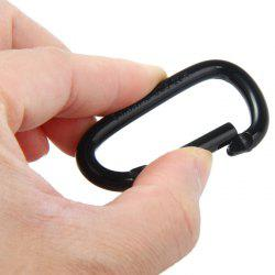 0.6cm D-shaped Carabiner Aluminum Alloy Made - BLACK