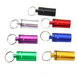 Flat Bottom Aluminum Alloy Medicine Bottle with Keyring - RANDOM COLOR