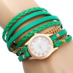 Women Vintage Weave Wrap Leather Bracelet Wrist Watch