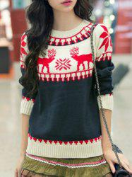 Fresh Style Elk Printed Long Sleeve Pullover Snowflake Sweater For Women