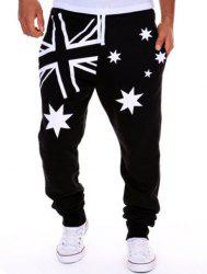 Hot Sale Beam Feet Star Union Jack Print Loose Fit Men's Lace-Up Sweatpants - WHITE AND BLACK