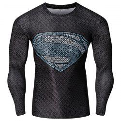Fashion Round Neck 3D Superman Pattern Skinny Quick-Dry Long Sleeves Men's Superhero T-Shirt - COLORMIX