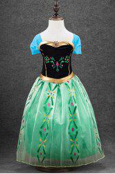 Stylish Short Sleeve Square Neck Patterned Spliced Frozen Cosplay Girl's Dress - GREEN