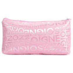 Casual Portable PVC Leather Letter Print Zippered Square Women Storage Bag - PINK