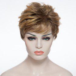 Ultrashort Spiffy Straight Hairstyle Side Bang Layered Heat-Resistant Mixed Color Women's Capless Wig