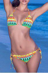 Sexy Halter Lace Up Colored Print Women's Bikini Set
