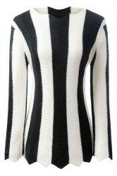 Stylish Long Sleeve Black and White Striped Women's Jumper