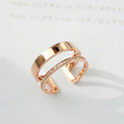 1PC Rhinestone Hollow Out Two Layered Cuff Ring - ROSE GOLD ONE-SIZE