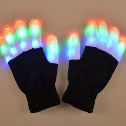Chic Pair Of Cotton Material 7-Mode Colorful Changing LED Finger Lighting Flashing Gloves - Black