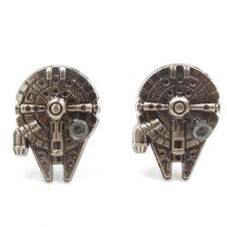 Pair of Stylish Movie Star Wars Spaceship Shape Cufflinks For Men -