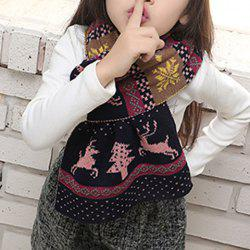Chic Christmas Deer and Snowflake Pattern Winter Scarf For Girls -