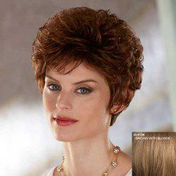 Ladylike Towheaded Curly Short Capless Stylish Side Bang Real Natural Hair Wig For Women -