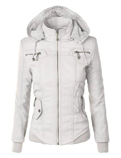 Chic Chic Hooded Solid Color Detachable Sleeve Faux Leather Jacket For Women