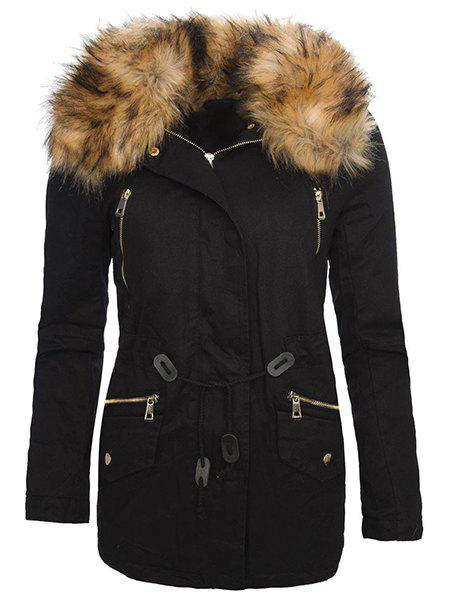 Stylish Turn-Down Collar Long Sleeve Faux Fur Design Drawstring Womens CoatWOMEN<br><br>Size: L; Color: BLACK; Clothes Type: Parkas; Material: Polyester; Type: Wide-waisted; Shirt Length: Long; Sleeve Length: Full; Collar: Hooded; Pattern Type: Solid; Embellishment: Fur; Style: Fashion; Season: Winter; Weight: 0.870KG; Package Contents: 1 x Coat;